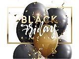 Vinilo Black Friday Escaparates Rebajas Black Friday blanco y dorado | 100 cm de largo x 90 cm de alto | Vinilo Adhesivo | Decora tu...