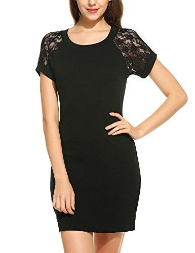 Trudge Damen Elegant Etuikleid Minikleider Bleistiftkleid Shirtkleid Kurzarm Rundhals Kleid mit Spitzen, Schwarz, EU 36(Herstellergröße:S)