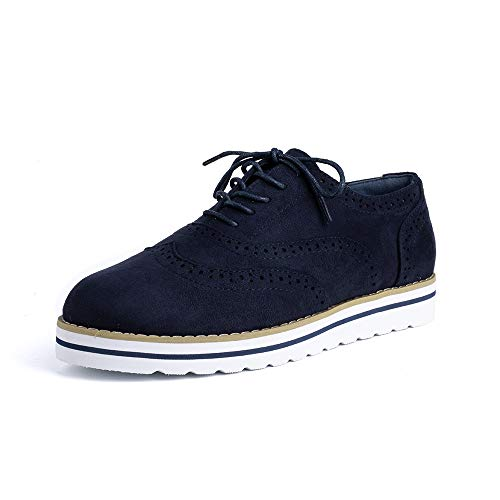 Zapatos de Cordones Mujer Planos Brogue Derby Oxford Gamuza Cuero Mocasines Vestir Moda Casual Calzado...