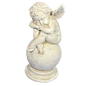 Casa Collection 05117 schlafender Engel auf Kugel Höhe 25 cm, antikweiß