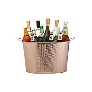 "BarCraft Large Vintage-Style Wine / Champagne Cooler Bucket, 48 x 26 x 25 cm (19"" x 10"" x 10"") - Hammered Copper Finish"