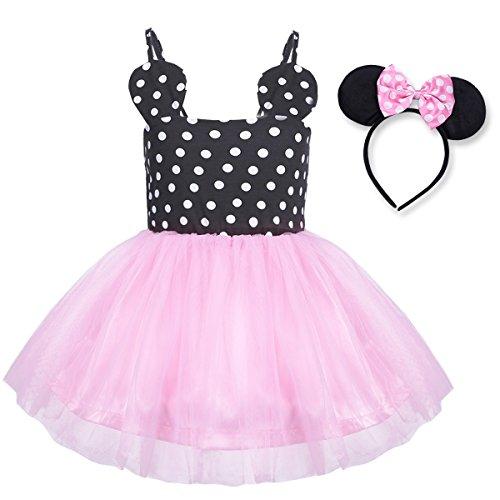 YiZYiF Mädchen Kinder Kostüm Ballettkleid Geburtstag Party Karneval Fasching Cosplay Halloween Kostüm Kleid mit Ohren, 12 Stil (68-74, Schwarz + Rosa (Kostüm Zubehör 70's)
