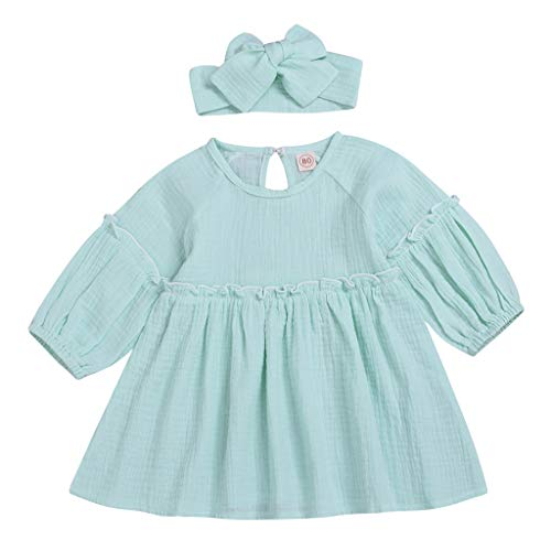 Schmetterling Mädchen Cap Sleeve T-shirt (Kinder Baby Mädchen Rüschen einfarbig Prinzessin Sommer Urlaub Strand Party Casual Fashion Lovely Kleider Haarband Sundress Gr. 110 cm, blau)