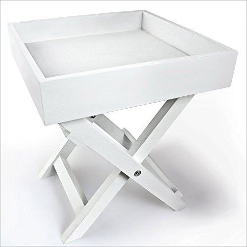 Mesa auxiliar pequeña de madera en color blanco, madera, Weiss, pack de...
