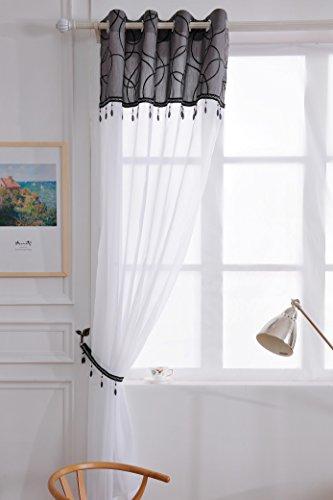 X 1Jewel Quaste Perlen Öse Ring Top Sheer Voile weiß Vorhang Panel gratis Raffhalter-Schwarz-149,9cm W x 182,9cm D-Vorhänge zu Hause -