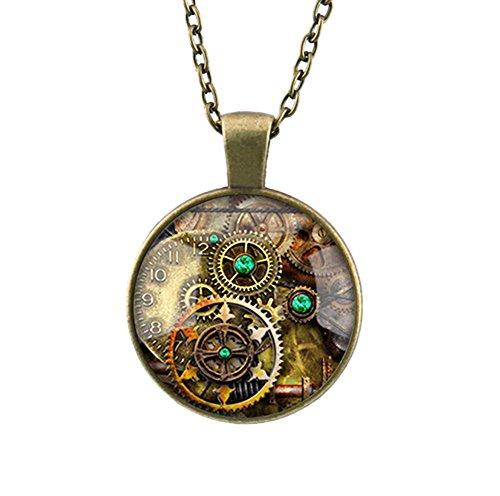 DELEY Vintage Bronze Kette Gear Uhr Bücher Glas Dome Zeit Edelstein Anhänger Statement Halskette Getriebe Getriebe Bücher