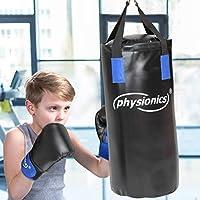 Junior Boxsack-Set 5-teilig Ø28 cm H65 cm Gewicht 10 kg mit Boxhandschuhen für Kinder und Jugendliche Training - 8 oz inkl. Deckenhalterung, Karabinerhaken und Bandagen   Boxsack-Kit, Sandsack   Kickboxen, MMA, Kampfsport, Muay Thai, Punching Bag