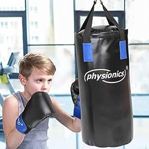 Junior Boxsack-Set 5-teilig Ø28 cm H65 cm Gewicht 10 kg mit Boxhandschuhen für Kinder und Jugendliche Training - 8 oz inkl. Deckenhalterung, Karabinerhaken und Bandagen   Boxsack-Kit, Sandsack   Kickboxen, MMA, Kampfsport, Muay Thai, Taekwando, Punching Bag