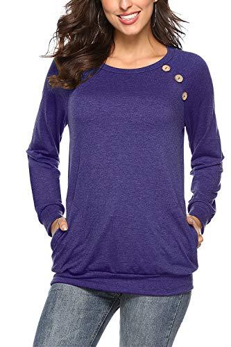 NICIAS Damen Langarmshirt Pullover Lässige Rundhals Sweatshirt Schaltflächen Hemd T Shirt Bluse Tunika Top mit Taschen Lila Blau S