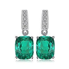 Idea Regalo - JewelryPalace 5.4ct Sintetico Verde Nano Russo Smeraldo Goccia Orecchini Solido 925 Sterling Argento