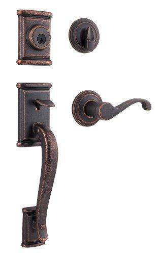 Bronze Ashfield Handleset (Kwikset Ashfield Single Cylinder Handleset w/Commonwealth Lever featuring SmartKey in Rustic Bronze by Kwikset)