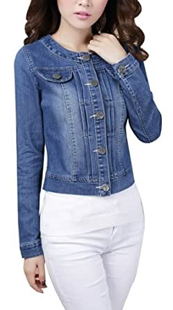 Women Ladies Girls Slim Fitted Button up Long Sleeve Denim Light Wash Faded Colour Blue Jacket Jean Jacket UK 6