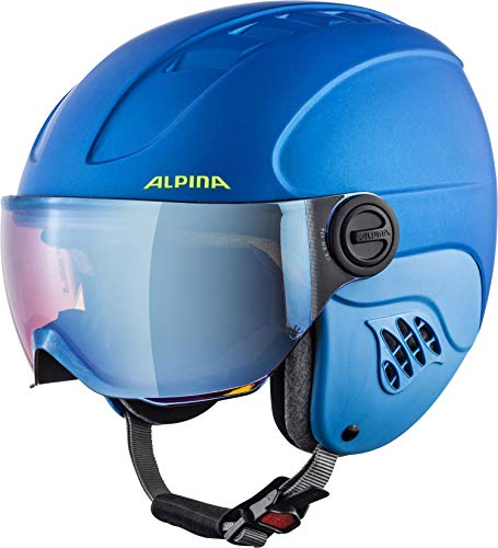 Alpina Kinder Carat Le Visor HM Skihelm, Blue/Neon/Yellow matt, 48-52 cm
