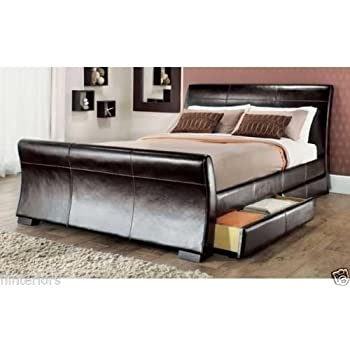 roma 4 drawers leather storage sleigh bed double or king size beds memory mattress king size. Black Bedroom Furniture Sets. Home Design Ideas