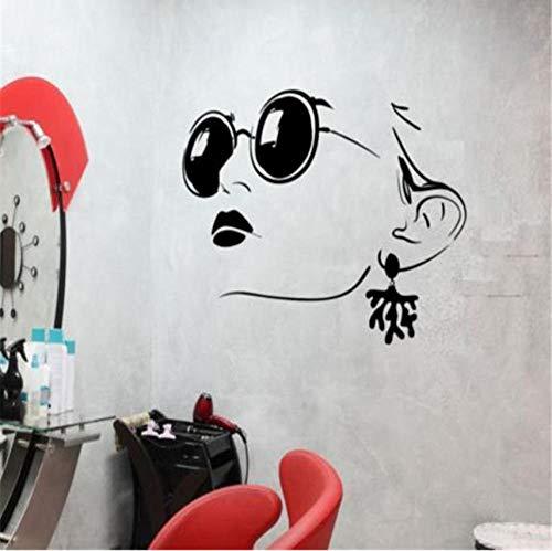 Wandtattoo Mädchen Gesicht Brille Schäkel Beauty Salon Lippen Vinyl Aufkleber 71x111cm