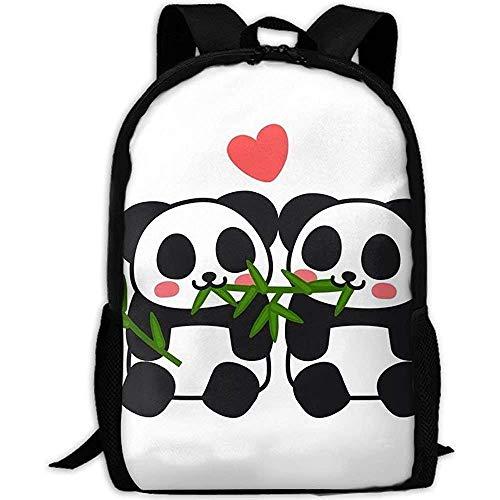 Zainhi bianchi dello zainetto del computer della scuola di viaggio dei panda delle coppie dell'amante divertente sveglio delle ragazze