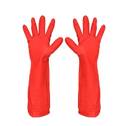 SONGYANG Handschuhe Latex Reinigung Geschirrspülmittel Autowaschmittel Hausarbeit rosa rot sauber Geschirrspülmittel Autowaschmittel wasserdicht verschleißfest Säure und Lauge @ 45cm ohne Samt (Geschirrspülmittel Handschuhe Rot)