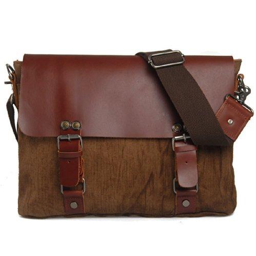 Outdoor Peak Herren Messenger Bag Messengertasche Handtaschen Retro Leinentuch echtes Leder Aktentasche Laptop (Khaki) Braun