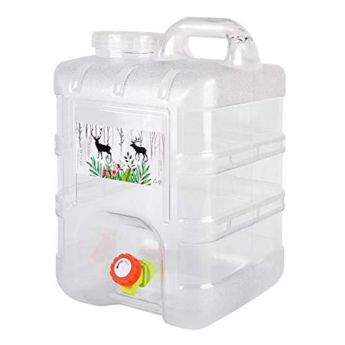 Rich-home 15L Camping Wasserkanister Tragbarer Kunststoff-Reinwassereimer mit Deckel für Selbstfahrer Camping, PA-frei, Wiederverwendbar, Weiß Transparent