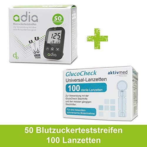 Diabetiker Vorteilspack : adia 50 Blutzuckerteststreifen + 100 Blutlanzetten (Universal-Lanzetten) zur Blutzuckermessung