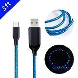 MKDGO 3 Fuß Type C USB Kabel 360 Grad Runde Fließenden LED Schnellladekabel Aufrollbar Datenkabel für Samsung Galaxy S8 S8Plus S9 S9 Plus A3 A5 2017/HuaWei P10 P20 – Marineblau Licht