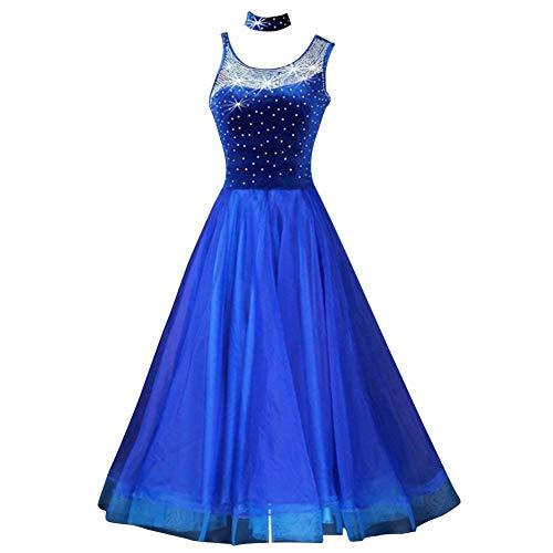Frauen Standard Gesellschaftstanz Wettbewerb Kleider Strass Marine Royal Blue Kostüme Für Frauen Blau Tango Walzer Kleider Modern Dance Dress