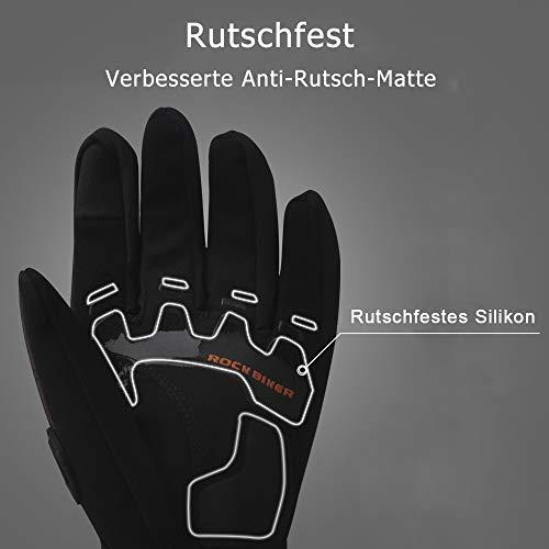 Motorrad Handschuhe Winter Warm Handschuhe Touch Screen Wasserdicht Winddicht Sporthandschuhe ( XL,Schwarz) - 9