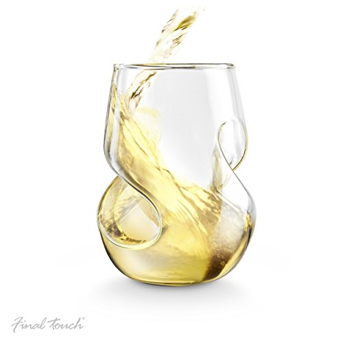 Final Touch Conundrum verres à vin blanc en verre soufflé à la main 266 ml-Lot de 4