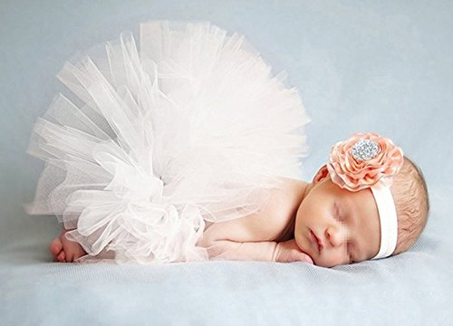 Mädchen Neugeborenen Baby Kostüm - Butterem Neugeborene Baby Säugling Fotografie Stütze Kostüm Outfits Tutu Rock Outfits Blume Stirnband Set, Weiß
