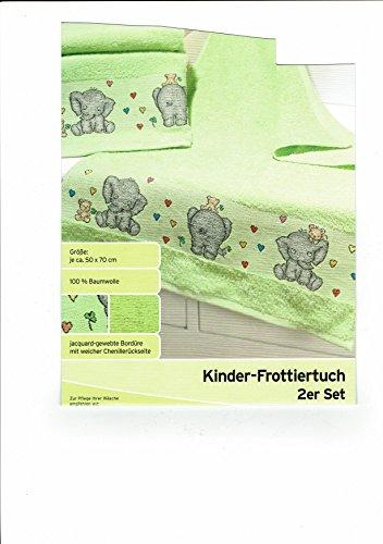 Kinder Frottiertuch Handtuch Badetuch 2er Set grün (Jacquard-waschlappen)