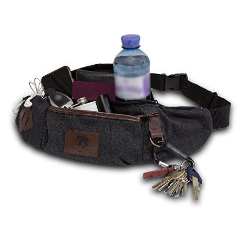 Zuverlässige Gürteltasche, Premium Hüfttasche, komfortable Reise-Bauchtasche Festivaltasche | sicherer Geldgürtel, feine Hundetasche Doggy Bag für Damen und Herren - XXL Clean Grey