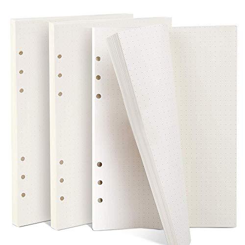 ZKSM 3 Packung Gepunktetes Papier (insgesamt 135 Blätter) 6 Löcher Nachfüllpapier Dot Grid Paper A5 für Filofax A5, Notizen, DIY, Bullet Journal, Skizze, Malerei, 8,26 x 5,59 Zoll