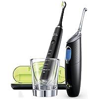 Philips HX8491/03 Diamond Clean - Pack de cepillo de dientes electrico y un irrigador dental airfloss ultra, color negro