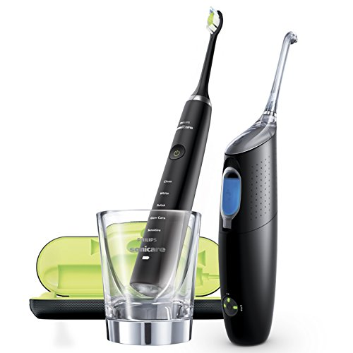 Philips HX8491/03 Diamond Clean - Pack de cepillo de dientes electrico y un irrigador dental airfloss ultra, color negro