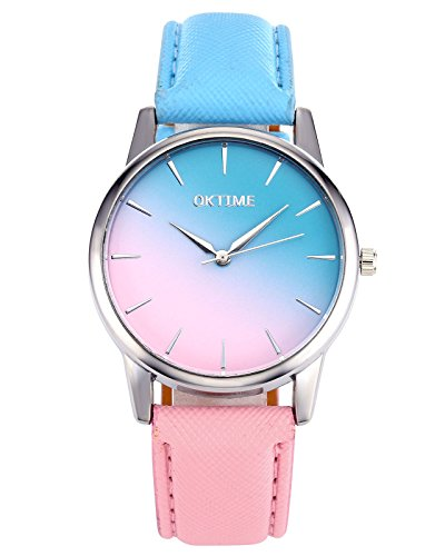 jsdde Fashion Frauen Gilrs Candy Farbe Pink & Blau Uhr Silber Fall PU Lederband