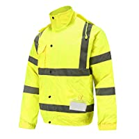 AYKRM Hi VIS Viz High Visibility Bomber Jacket Workwear Safety Security Concealed Hood Fluorescent Flashing Hooded Padded Waterproof Work Wear Coat (Yellow, 3XL)