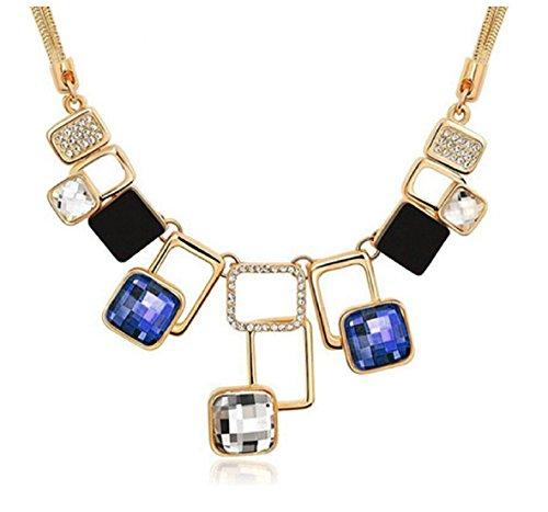 Glitz Adidas Damen-Statement Halskette für Mädchen-Party Wear-Blau