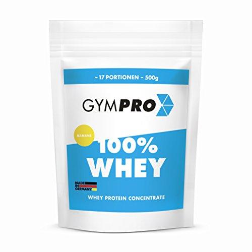 GymPro 100% Whey Protein Pulver zum Muskelaufbau und Abnehmen. Whey Protein Konzentrat Eiweiß mit Aminosäuren (BCAA) - Hergestellt in Deutschland (Banane)