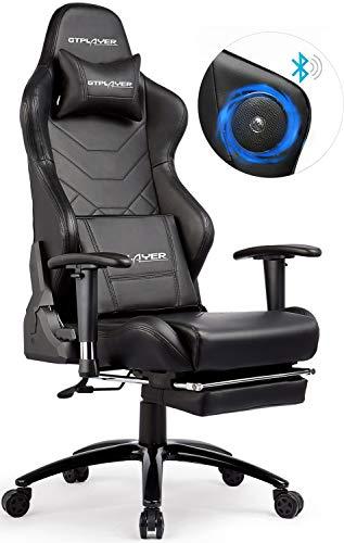 GTPLAYER Gaming Stuhl Bürostuhl Schreibtischstuhl Kunstleder Drehstuhl Chefsessel Höhenverstellbarer Gamer Stuhl Ergonomisches Design (Schwarz)