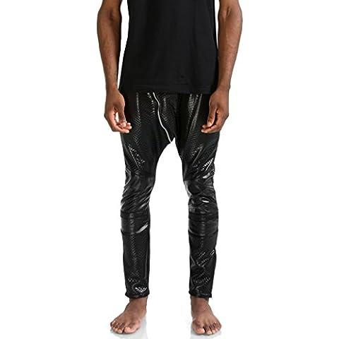 Pizoff Hip Hop Pantalones de chándal pitillo con diseño guateado brillante