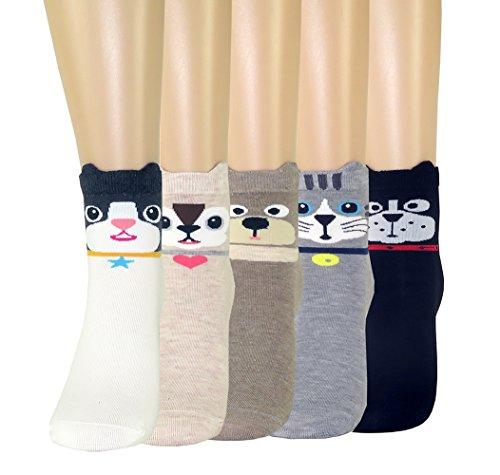 FULIER Frauen Damen Lustige Cute Design Bequeme Baumwolle Rich Knöchel Crew Socken (Für Socken Länge Diabetiker)