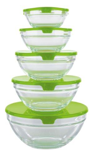 GOURMETmaxx 02973 Glasschüssel-Set | 10 Teile | Geeignet für Spülmaschine | Ineinander stapelbar | Transparent (Aufbewahrungsbox Glas)