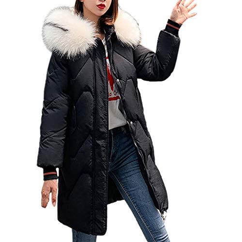 Kostüm Assassin's 4 Creed Günstige - WRWYOSF Damen Baumwoll-Mantel Winterparka Winterjacke warme Langen Mantel Pelzkragen Kapuzenjacke Slim Outwear Mäntel Tasche Kordelzug Design Gepolsterter Baumwollanzug