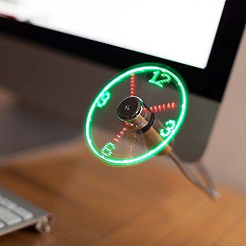 JUBLUN Ventilador USB, Nuevo Ventilador Reloj de Luces LED para PC, Portátil, Escritorio, Cuello de Cisne Flexible, Colorido Ventilador de Refrigeración