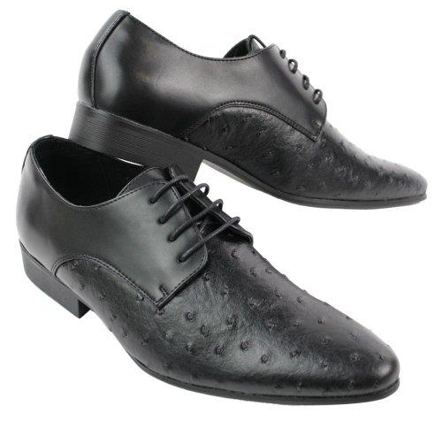 Chaussures homme design italien cuir PU style autruche gris marron noir avec lacets Noir