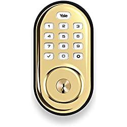 Yale Push Button Electronic Deadbolt with ZigBee, Works with Echo Plus, Samsung SmartThings, Wink and more, in Polished Brass