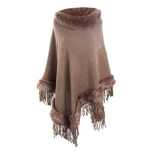 Scialli stole donna elegante cerimonia sciarpa di scialle di cashmere con frange e collo in pelliccia di lana tinta unita casual moda caldi (taglia unica, marrone)
