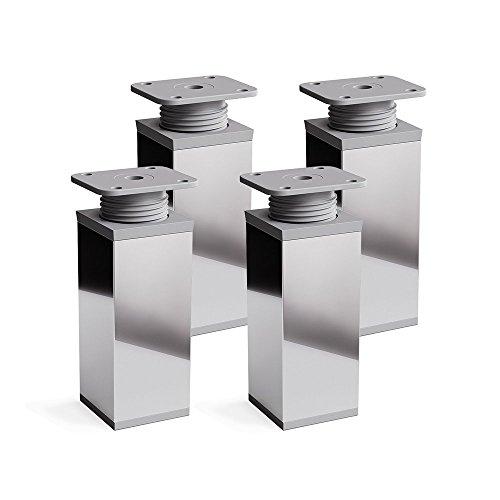 Design-Möbelfüße, 4er Set, höhenverstellbar | Vierkant-Profil: 40 x 40 mm | Sossai MFV1-CH | Farbe: Chrom | Höhe: 80mm (+20mm) | Material: Aluminium/Kunststoff | Holzschrauben inklusive