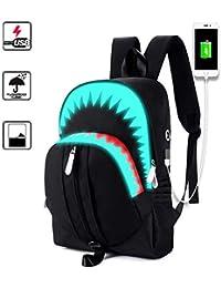 Gorgebuy Mochila para portátil, Anime Luminous School Bookbag para niños y niñas con puerto de carga USB - Mochila para computadora, resistente al agua, mochila para computadora para mujer / hombre (Tiburón)