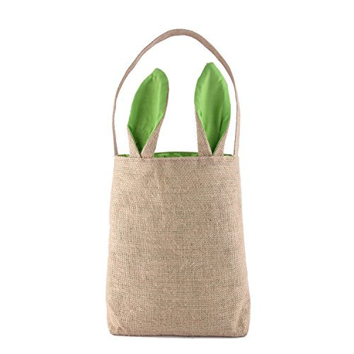 S-MAX Dual Layer Bunny Ears Design Jute Cloth Material Easter Treat Bags Carrying Eggs/Gifts for Festival/Party,Size 9.5*12*3.8,Weight 4.93 Oz (Green) by PJS-MAX ()
